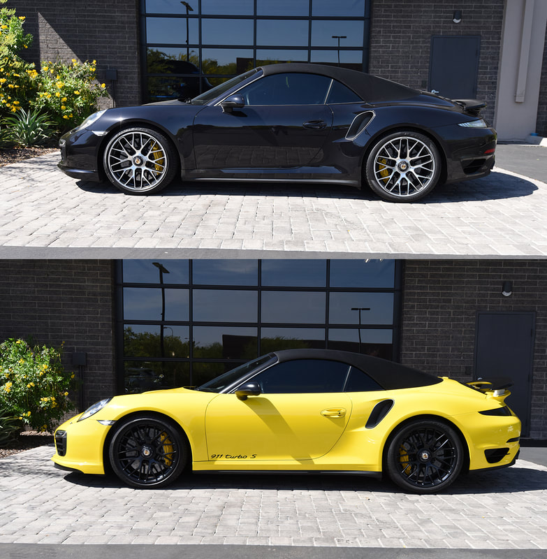 Vinyl wrap color change with Avery Gloss Yellow on Porsche 911 Turbo S